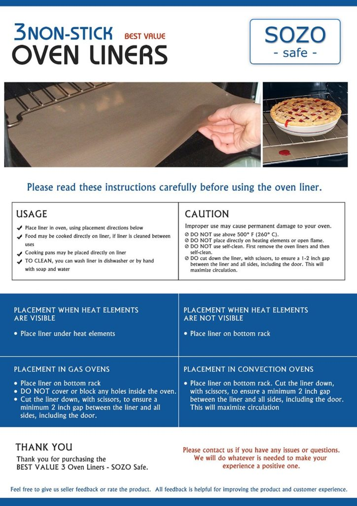 instructions on how to use oven liner efficiently