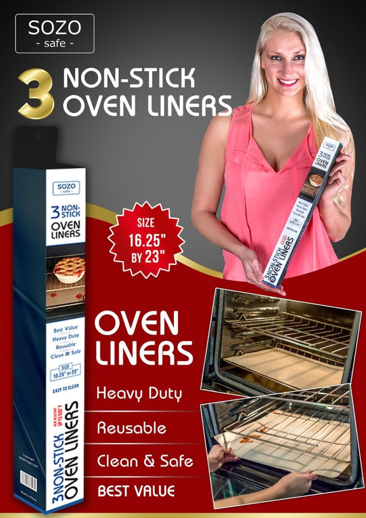 set of 3 SOZO Safe oven liners