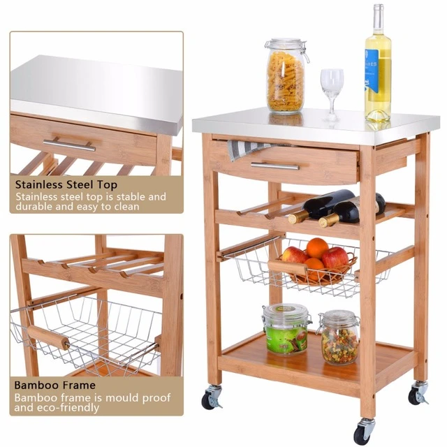 kitchen trolley with stainless steel top